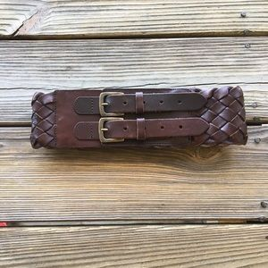 Limited brown leather belt